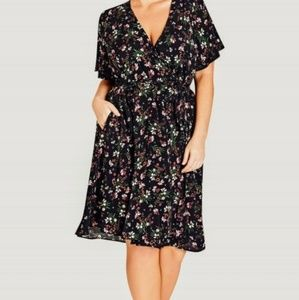 Fall floral wrap dress